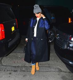 See Rihanna's best looks in the classic work boot—and how it inspired her new shearling versions for Manolo Blahnik.