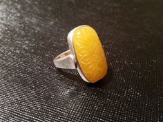 VINTAGE LARGE CARVED GENUINE BUTTERSCOTCH BALTIC AMBER SILVER 925 RING! #Solitaire