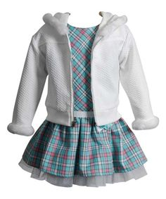 Love this Youngland Cream & Aqua Plaid Drop-Waist Dress & Zip-Up Cardigan - Infant by Youngland on #zulily! #zulilyfinds