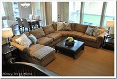 I want this couch from Pottery Barn! And, I LOVE the ottoman too!