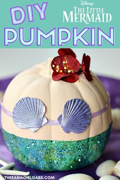 Disney The Little Mermaid Pumpkin This adorable No-Carve Little Mermaid Pumpkin is a fun DIY Halloween craft that kids can make. Find you how to make this Ariel inspired Disney craft complete with snarfblats and dinglehoppers. Ariel fans will have fun mak Disney Halloween, Halloween Kids, Halloween Treats, Halloween Pumpkins, Halloween 2019, Halloween Decorations, Little Mermaid Crafts, Disney Little Mermaids, The Little Mermaid
