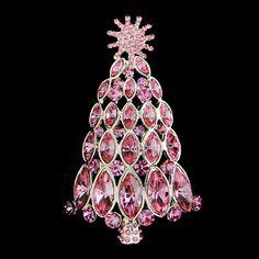 Vintage Swarovski Crystal Snowflake Christmas Tree Brooch Pin, Christmas Gift, Pink Rhinestone Goldtone Tree,