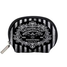 Ouija board Baroque and stripe accessory bag, zippered top image is dye sublimated into durable polyester fabric so there is no cracking, peeling, or fading. www.shayneofthedead.com