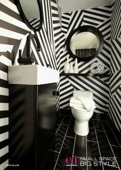 Black and white stripes in a bathroom