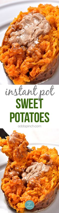 Instant Pot Sweet Potatoes Recipe – Cooking sweet potatoes in an Instant Pot or other electric pressure cooker makes cooking sweet potatoes so quick and easy! Perfect for enjoying as baked sweet potatoes as a side dish or for cooking to use in sweet potato casserole and so many other dishes! // addapinch.com