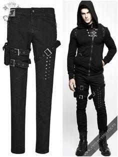 Punk Rave Distressed Holes Ripped Gothic Mesh Black Red Leggings Pants K-099