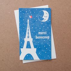 Image of 1113b - merci moon french letterpress thank you card