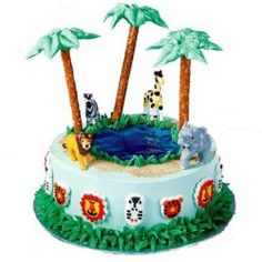 Wildlife Safari Cake. Let lively jungle-themed products help you easily create this African safari adventure. Lifelike toppers and icing decorations add the perfect finishing touches.