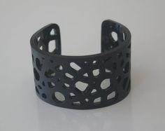 Modern Cellular Laser Cut Acrylic Unisex Cuff Bracelet in Black by Donna Coralie Designs