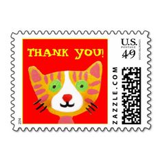 thank you cute cat postage stamps