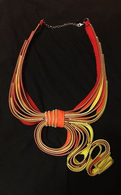 Yellow, Orange, and Red Zipper Necklace on Etsy, $55.00