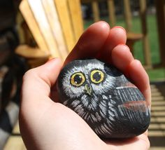 Hand-Painted Owl Rock small by PlatypusCanada on Etsy