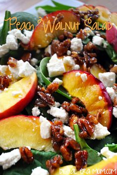 My Note: CANDIED WALNUTS in brown sugar & butter - so easy! This peach walnut salad uses spinach and candied walnuts for perfect flavor. Hello, summer, this is the PERFECT salad for you! Vegetarian Recipes, Cooking Recipes, Healthy Recipes, Grilled Peaches, Grilled Peach Salad, Clean Eating, Healthy Eating, Healthy Food, Healthy Afternoon Snacks