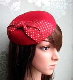 Red Felt Hat  Polka Dot Bow Beret Felt Hat by LillibetsMillinery.... I don't know why I love this, and I don't know where I will wear it