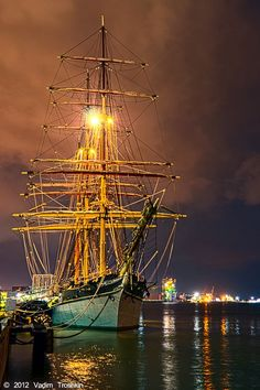 Galveston, TX - Tall ship ELISSA at night.  I was a docent on this ship when it came to Port Arthur/Beaumont Texas in 1989