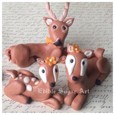 1 fondant baby deer 1 dad buck  1 mamma deer cake topper for boy girl or gender neutral