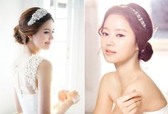 Wedding Hairstyles Korean Brides Make Up New Ideas Wedding Hair And Makeup, Bridal Makeup, Hair Makeup, Hairdo Wedding, Bride Hairstyles, Headband Hairstyles, Korean Wedding Hair, Korean Bride, Sleek Updo