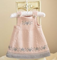 Knitting pattern for Luv U Forever Pinafore Dress for babies and toddlers