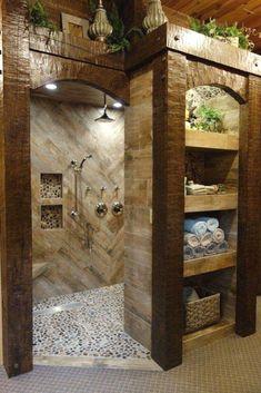 bathroom remodel before and after * bathroom remodel ; bathroom remodel on a budget ; bathroom remodel before and after ; bathroom remodel with tub Dream Bathrooms, Beautiful Bathrooms, Small Bathroom, Bathroom Ideas, Budget Bathroom, Bathroom Organization, Rustic Master Bathroom, Tuscan Bathroom, Log Cabin Bathrooms