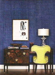 house and home office--mixed textures, blue grasscloth, tortoise desk, vintage chair, art Denim Wallpaper, Of Wallpaper, Textured Wallpaper, Blue Rooms, Blue Walls, Indigo Walls, Manhattan House, Chinoiserie Chic, Blue Wallpapers