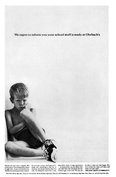 DDB - Charlie Piccirillo (art director) and Judy Protas (writer), back to school ad for Ohrbach's, 1962.
