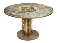A Philip and Kelvin Laverne Bronze Pedestal Table