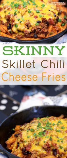 Skinny Skillet Chili Cheese Fries - Happiness is Homemade #ValentinesDayIn #VDayIn #ad