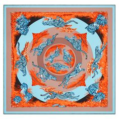 """Guépards"", 90x90 cm scarf in silk twill. Design: Robert Dallet. Play with your Hermès scarf with the Silk Knots app! hermes.com/silkknots   #Hermes #Silk #SilkKnots"