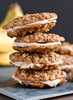 Peanut Butter Banana Oatmeal Creme Pie- Soft, chewy, and totally irresistible!