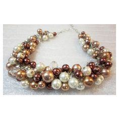 Pearl Bib Necklace in Ivory Bronze Mocha Champagne, Rustic Wedding,... ($25) ❤ liked on Polyvore featuring jewelry, necklaces, wedding jewelry, pearl cluster necklace, ivory jewelry, pearl jewelry and ivory pearl necklace
