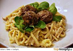Spätzle s masovými kuličkami a krémovou omáčkou (od 1 roku) Gnocchi, Spaghetti, Toast, Cooking, Ethnic Recipes, Lasagna, Kitchen, Kochen, Noodle