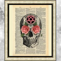 Art print on antique dictionary book page Mounted Gothic skull heartagram roses