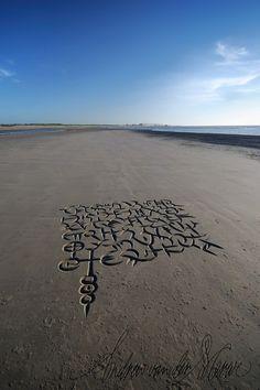 African beach calligraphy doodles by Andrew van der Merwe, via Behance