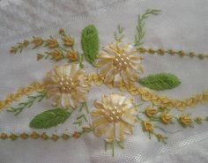I ❤ ribbon embroidery . . . Yellow and White Ribbon embroidery ~From Melisin El İşi Dünyası