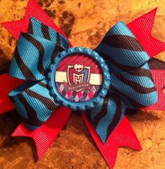 Monster High Themed Bottle cap Hair Bow pink and turquoise zebra   on Etsy, $4.50