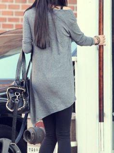Grey Round Neck Long Sleeve Asymmetrical Cotton T-Shirt
