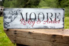 "Custom Family Name Sign, Personalized Last Name, Established Date, Hand Painted 8"" x 23.5"" on Etsy, $39.99"