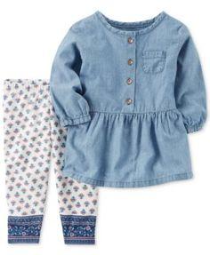 Carter's 2-Pc. Chambray Tunic & Leggings Set, Baby Girls (0-24 months) | macys.com