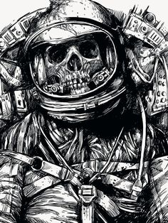 Pin by nycholle sloane on tattoos in 2019 arte del mal, astr Astronaut Drawing, Astronaut Tattoo, Totenkopf Tattoos, Dope Art, Sci Fi Art, Skull Art, Comic Art, Fantasy Art, Graphic Art