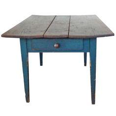 19thc Original Green Painted Three Board Top Farm Table