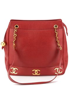 Chanel Red Quilted Caviar Leather Jumbo Tote is on Rue. Shop it now.