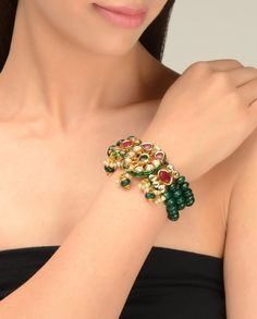 Multi Strand Green Beaded Bracelet with Kundan Brooch  by Just Jewellery