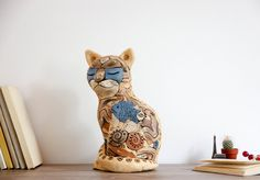 Cat Mug Figurine Sculpture Cute Clay Art decor, Decorative Collectible Cat lady statue, Cat lover gift, Home decoration, New home gifts by RamunesCeramic on Etsy
