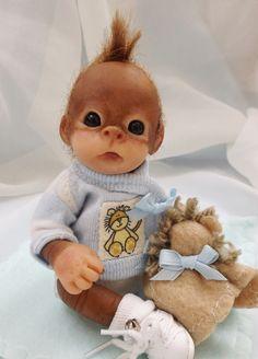 OOAK Baby Orangutan Monkey Boy Sculpted Polymer Clay Art Doll #Dolls