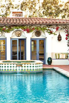 spanish style pool house