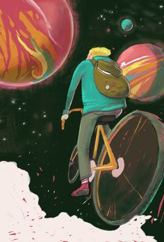 anniecarbo:    A little illustration I'm working on right now :)  It's about bicycle and stars
