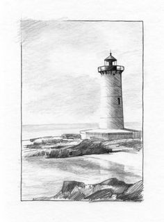 February 11, 2018. Sketching exercise from ArtTutor.com (Phil Davies - Lighthouse). Pencils.