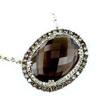 Ladies Smokey Topaz & Diamond Necklace