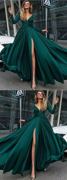 Charming Dark Green Prom Dress,Sexy Deep V-Neck Prom Dress,Long Sleeves Prom Dresses Prom Dress,Leg Split Evening Gowns Dark Green Prom Dresses, Split Prom Dresses, V Neck Prom Dresses, Prom Dresses 2018, Emerald Green Wedding Dress, Emerald Green Dress Prom, Ball Dresses, Sleeved Prom Dress, Satin Dresses