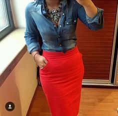 New Ideas Skirt Red Jeans You are in the right place about Pencil Skirt high waisted Here Jean Shirt Outfits, Red Skirt Outfits, Pencil Skirt Outfits, Red Skirts, Jean Shirts, Casual Outfits, Fall Outfits, Red Jeans Outfit, Tomboy Fashion